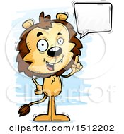 Clipart Of A Happy Talking Male Lion Royalty Free Vector Illustration