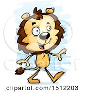 Clipart Of A Happy Walking Male Lion Royalty Free Vector Illustration