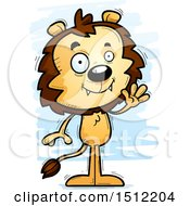 Clipart Of A Friendly Waving Male Lion Royalty Free Vector Illustration