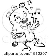 Clipart Of A Black And White Happy Dancing Lioness Royalty Free Vector Illustration
