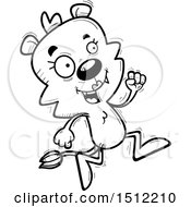 Clipart Of A Black And White Running Lioness Royalty Free Vector Illustration