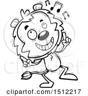 Clipart Of A Black And White Happy Dancing Male Lion Royalty Free Vector Illustration