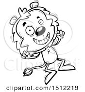 Clipart Of A Black And White Jumping Male Lion Royalty Free Vector Illustration