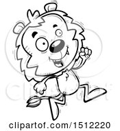 Clipart Of A Black And White Running Male Lion Royalty Free Vector Illustration