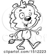 Clipart Of A Black And White Happy Walking Male Lion Royalty Free Vector Illustration