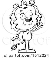 Clipart Of A Black And White Friendly Waving Male Lion Royalty Free Vector Illustration