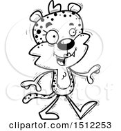Clipart Of A Black And White Happy Walking Female Leopard Royalty Free Vector Illustration
