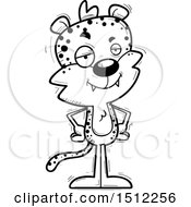 Clipart Of A Black And White Confident Male Leopard Royalty Free Vector Illustration