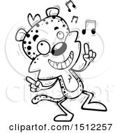 Clipart Of A Black And White Happy Dancing Male Leopard Royalty Free Vector Illustration