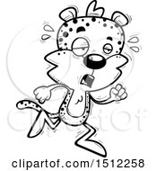 Clipart Of A Black And White Tired Running Male Leopard Royalty Free Vector Illustration