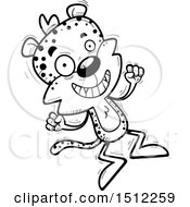 Clipart Of A Black And White Jumping Male Leopard Royalty Free Vector Illustration