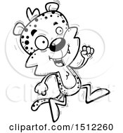 Clipart Of A Black And White Running Male Leopard Royalty Free Vector Illustration