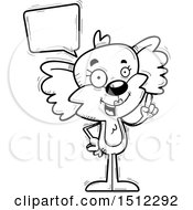 Clipart Of A Black And White Happy Talking Female Koala Royalty Free Vector Illustration