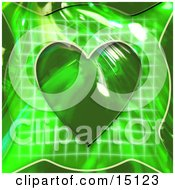 Green Background With A Healthy Heart Over A Graph Symbolizing Cardiology Or Heart Rate Clipart Illustration