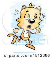 Clipart Of A Tired Running Male Cat Royalty Free Vector Illustration
