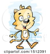 Clipart Of A Happy Walking Male Cat Royalty Free Vector Illustration