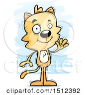 Clipart Of A Friendly Waving Male Cat Royalty Free Vector Illustration