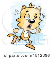 Clipart Of A Tired Running Female Cat Royalty Free Vector Illustration