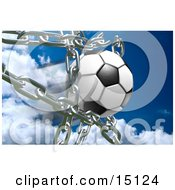 Soccer Ball Breaking Through Metal Chains While Making A Goal Symbolizing Breaking Free Strength Victory And Success Clipart Illustration