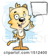 Clipart Of A Happy Talking Female Cat Royalty Free Vector Illustration