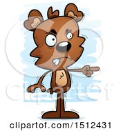 Clipart Of A Mad Pointing Male Bear Royalty Free Vector Illustration