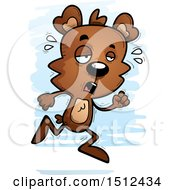 Clipart Of A Tired Running Male Bear Royalty Free Vector Illustration