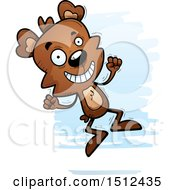 Clipart Of A Jumping Male Bear Royalty Free Vector Illustration