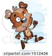 Clipart Of A Running Male Bear Royalty Free Vector Illustration
