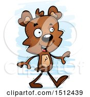 Clipart Of A Happy Walking Male Bear Royalty Free Vector Illustration