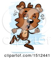 Clipart Of A Tired Running Female Bear Royalty Free Vector Illustration