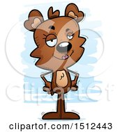 Clipart Of A Confident Female Bear Royalty Free Vector Illustration
