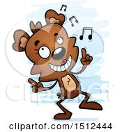 Clipart Of A Happy Dancing Female Bear Royalty Free Vector Illustration