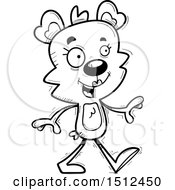 Clipart Of A Black And White Happy Walking Female Bear Royalty Free Vector Illustration
