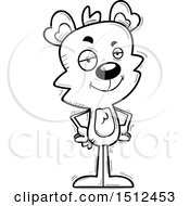Clipart Of A Black And White Confident Male Bear Royalty Free Vector Illustration