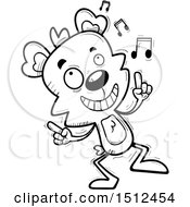 Clipart Of A Black And White Happy Dancing Male Bear Royalty Free Vector Illustration
