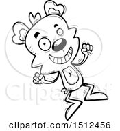 Clipart Of A Black And White Jumping Male Bear Royalty Free Vector Illustration