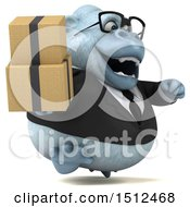 Poster, Art Print Of 3d White Business Monkey Yeti Holding Boxes On A White Background