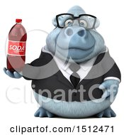 Poster, Art Print Of 3d White Business Monkey Yeti Holding A Soda On A White Background