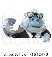 Poster, Art Print Of 3d White Business Monkey Yeti Holding A Euro On A White Background