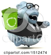 Poster, Art Print Of 3d White Business Monkey Yeti Holding A Recycle Bin On A White Background