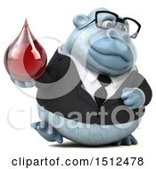 Clipart Of A 3d White Business Monkey Yeti Holding A Blood Drop On A White Background Royalty Free Illustration