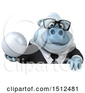 Poster, Art Print Of 3d White Business Monkey Yeti Holding A Golf Ball On A White Background