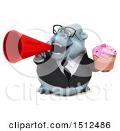Poster, Art Print Of 3d White Business Monkey Yeti Holding A Cupcake On A White Background