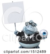 Poster, Art Print Of 3d White Business Monkey Yeti Holding An Eye On A White Background