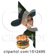 Clipart Of A 3d Sexy Green Witch Holding A Burger On A White Background Royalty Free Illustration