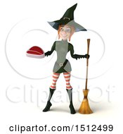 Clipart Of A 3d Sexy Green Witch Holding A Steak On A White Background Royalty Free Illustration
