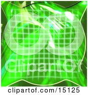 Green Grid And 3d Bubble