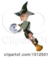 Clipart Of A 3d Sexy Green Witch Holding A Euro On A White Background Royalty Free Illustration