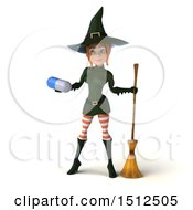 Clipart Of A 3d Sexy Green Witch Holding A Pill On A White Background Royalty Free Illustration
