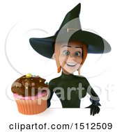 Clipart Of A 3d Sexy Green Witch Holding A Cupcake On A White Background Royalty Free Illustration